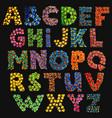 colorful funny acid alphabet on black vector image