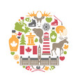 canada attributes colorful set in round shape on vector image