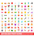 100 holiday party icons set cartoon style vector image vector image