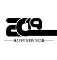 2019 happy new year black simple style five vector image vector image