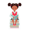 african american school girl character with book vector image vector image