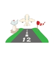 Airstrip with airplane icon cartoon style vector image vector image