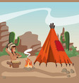 american indian at village vector image