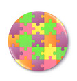 badge or pin with puzzle pattern mockup realistic vector image