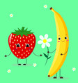 banana and strawberrie vector image