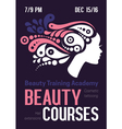 Beauty courses and training poster Beautiful vector image vector image