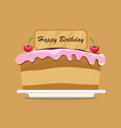 birthday cake with fruit and candle design vector image vector image