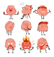 brain character emotion brain characters making vector image vector image