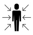 businessman standing with arrows conflict of vector image