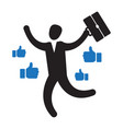 businessman with many thumbs up hands around him vector image vector image
