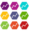 chart statistics line icon set color hexahedron vector image vector image