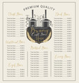 craft beer menu with price list and brewery vector image vector image