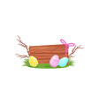 easter composition with wooden board painted eggs vector image vector image
