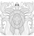 entangle turtle in waves freehand sketch vector image