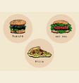 fastfood set vector image vector image