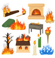 fire flame fired flaming bonfire in vector image vector image