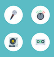 flat icons karaoke knob turntable and other vector image vector image