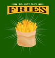 french fries unhealthy fast food snack potato vector image