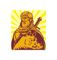 Frey Norse god of agriculture with sword and boar vector image vector image