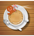 gingerbread cookie with sugar cane in hot coffee vector image