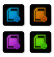 glowing neon transfer files icon isolated on vector image vector image