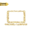 Gold glitter icon of computer isolated on vector image vector image