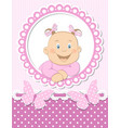 Happy baby girl scrapbook pink frame vector image