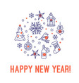 happy new year christmas concept in circle vector image