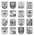 hockey sport championship badge icons vector image vector image