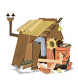 hut of the beggar isolated vector image