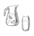 Jug and glass with fresh lemonade vector image vector image