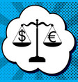 justice scales with currency exchange sign vector image vector image