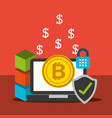 laptop bitcoin security check mark blockchain vector image