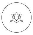 lotus flower icon black color in circle vector image