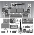 musician workspace with musical instruments sound vector image vector image