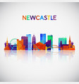 newcastle skyline silhouette in colorful vector image vector image