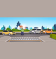 police inspector on road with cars using traffic vector image