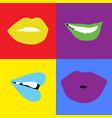 pop-art lips bright color vector image