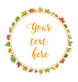 postcard with colorful autumn leaves wreath of vector image vector image