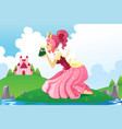 princess kissing a frog vector image