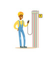 professional electrician man character measuring vector image vector image