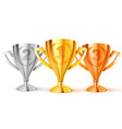 realistic golden trophy first second and third vector image vector image