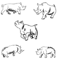 Rhinos A sketch by hand Pencil drawing vector image vector image