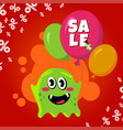 sale card with cute monster promotion balloon vector image vector image