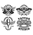 set monochrome tattoo emblems vector image vector image