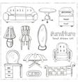 Set of doodle sketch furniture vector image vector image