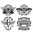 set of monochrome tattoo emblems vector image