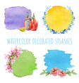 set of watercolor splashes with decor vector image