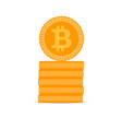 stack of golden bitcoin coins vector image vector image