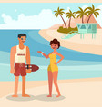 summer girl and guard man vector image vector image